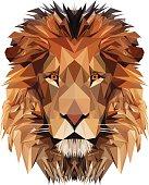 Lion's head - triangle style illustration.