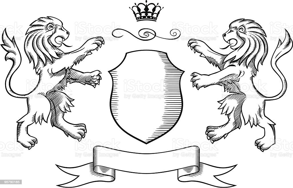 Lions Shield and Crown Insignia vector art illustration