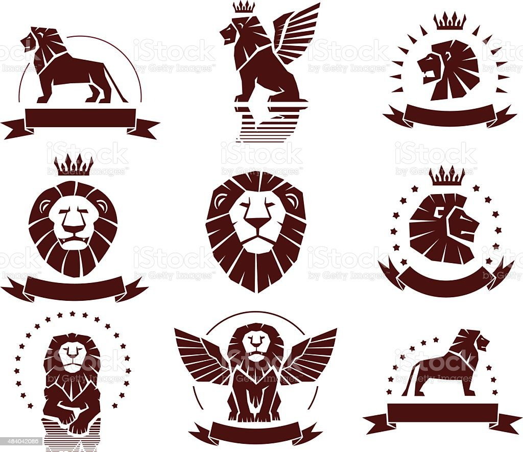 Lions Simple Emblems Set vector art illustration