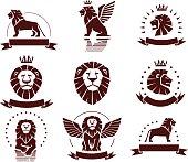Lions Simple Emblems Set