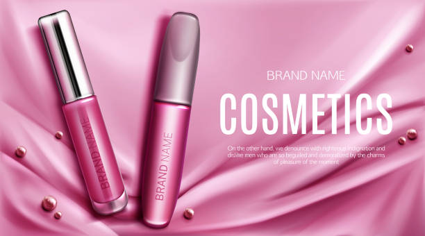 lip gloss and mascara tubes mockup promo banner - błyszczyk stock illustrations