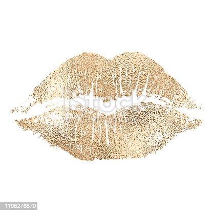 Vector lip imprint with golden texture isolated on white background. Decorative element for print or design.