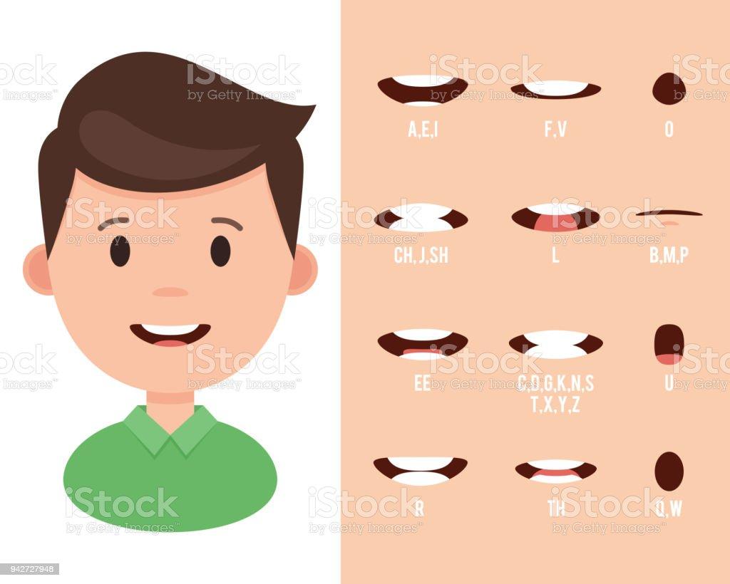 Lip sync collectie voor animatie - Royalty-free Activiteit - Bewegen vectorkunst