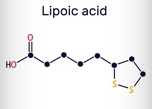 Lipoic acid, LA, ALA,  alpha lipoic, thioctic acid, lipoate molecule. It is organosulfur compound, vitamin-like antioxidant, enzyme cofactor. Skeletal chemical formula