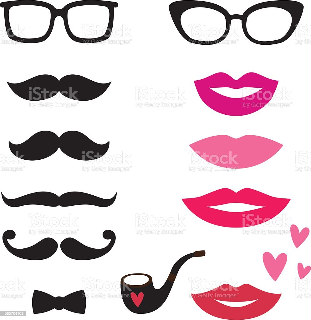 Lips and mustaches vector set vector art illustration