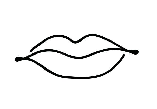 Lippen schwarz-weiß durchgehend Zeichnung. Linienkunst isolierte Umrissvektor-Illustration – Vektorgrafik
