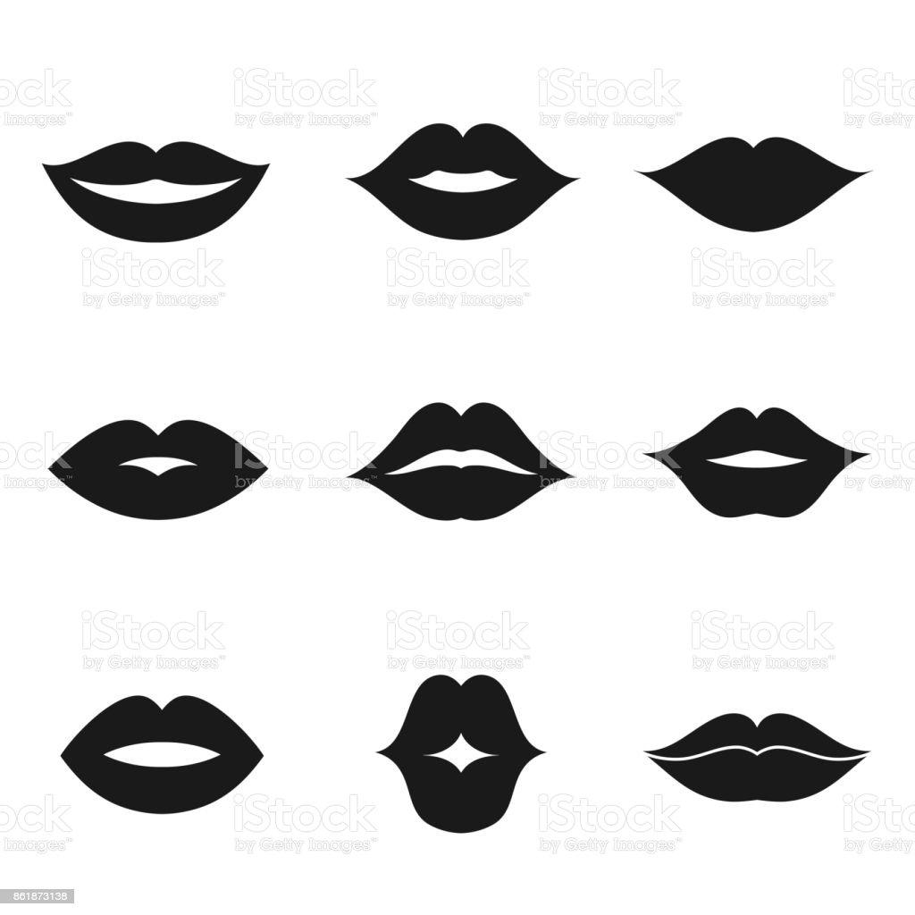 Lips Vector Black Lips Black Shape Icon ...