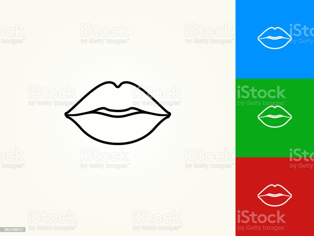 Lips Black Stroke Linear Icon vector art illustration