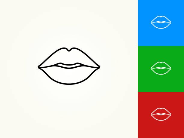 lips black stroke linear icon - usta człowieka stock illustrations