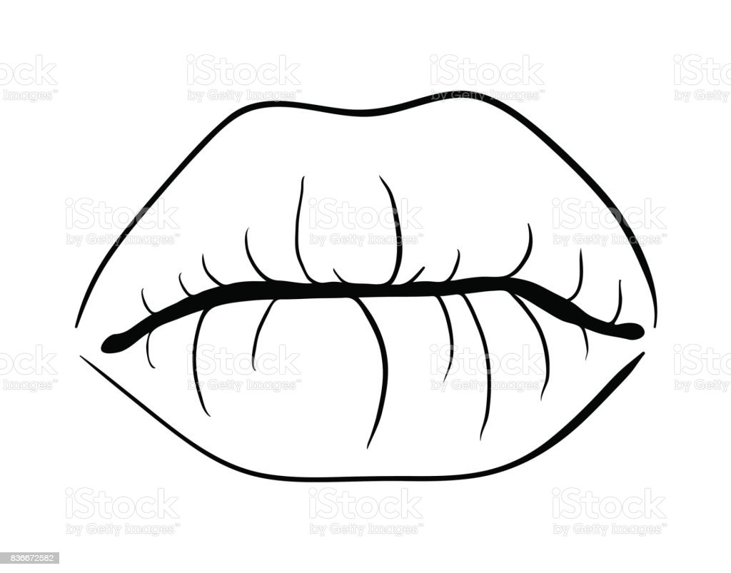 Lips Closed Outline Cartoon Vector Symbol Icon Design Beautiful Illustration Isolated On White Background Stock Illustration Download Image Now Istock