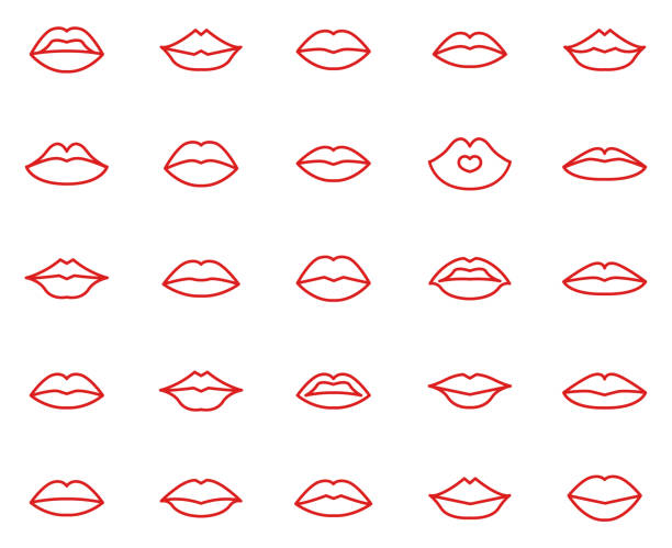 stockillustraties, clipart, cartoons en iconen met lippen collectie set - kussen met de mond