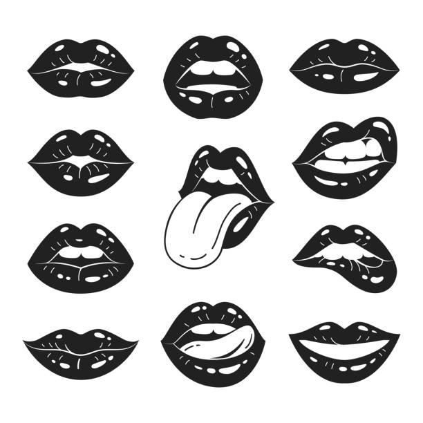 ilustrações de stock, clip art, desenhos animados e ícones de lips collection. - sensualidade