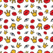 Lips Eyes and Crowns Seamless Fashion Pattern