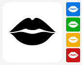 Lips Icon. This 100% royalty free vector illustration features the main icon pictured in black inside a white square. The alternative color options in blue, green, yellow and red are on the right of the icon and are arranged in a vertical column.