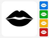 Lips Icon Flat Graphic Design