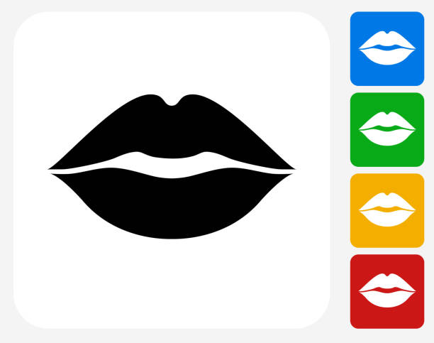 usta ikona płaskie projektowania graficznego - usta człowieka stock illustrations