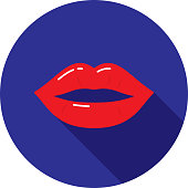 Vector illustration of a red pair of lips against a blue background in flat style.