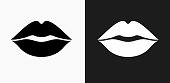 Lips Icon on Black and White Vector Backgrounds