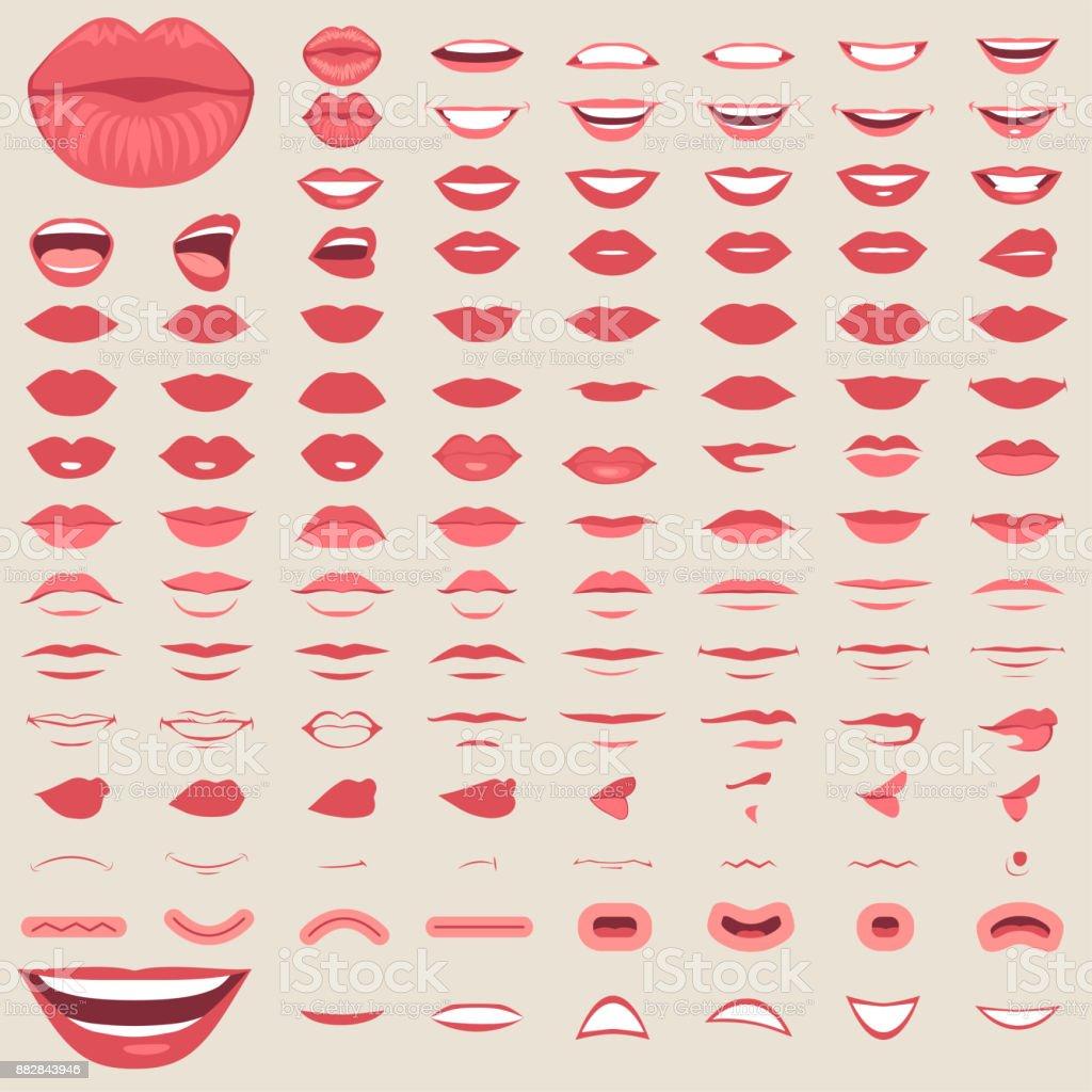 isolaram de lábios, sorriso masculino e feminino na boca, - ilustração de arte em vetor