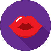 Vector illustration of red lips against a purple background in flat style.