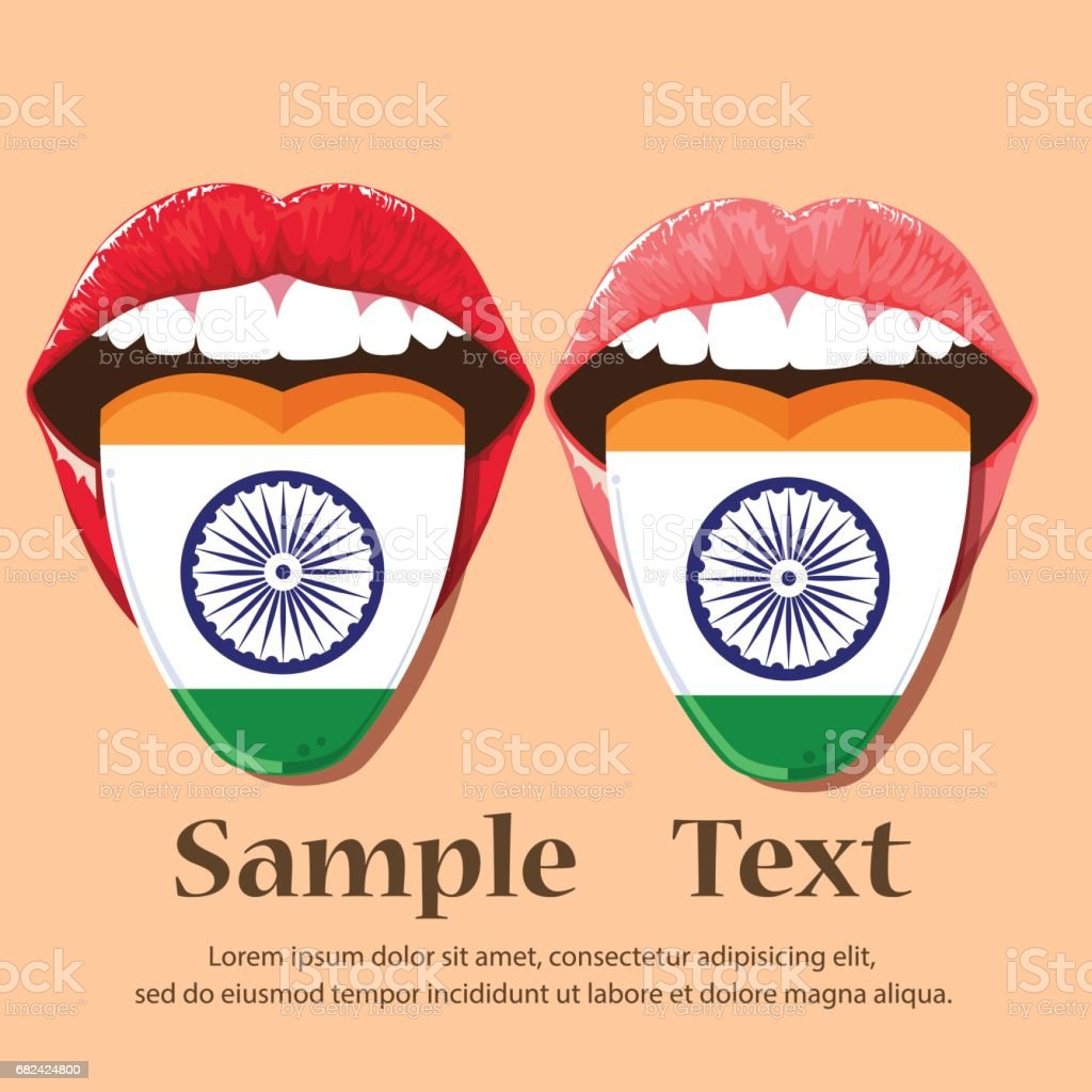 Lips open mouth sticking out tongue.Pink lips and red with national flag India. royalty-free lips open mouth sticking out tonguepink lips and red with national flag india stock vector art & more images of adult