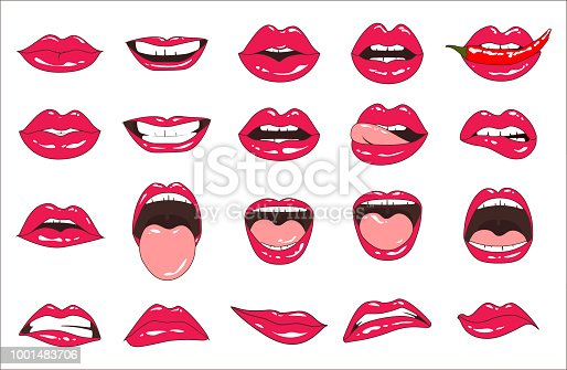 Lips patch collection. Isolated on white. Vector illustration of sexy doodle woman lips expressing different emotions, such as smile, kiss, half-open mouth, biting lip, lip licking, tongue out.