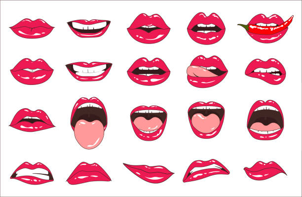 illustrazioni stock, clip art, cartoni animati e icone di tendenza di lips patch collection. vector illustration of sexy doodle woman lips expressing different emotions, such as smile, kiss, half-open mouth, biting lip, lip licking, tongue out. isolated on white. - smile woman open mouth