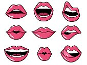 Lips patches. Pop art sexy kiss, smiling woman mouth with red lipstick and tongue. Retro comic 80s stickers vector licking expressions set