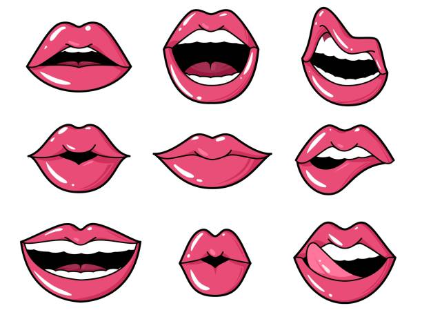 lips patches. pop art sexy kiss, smiling woman mouth with red lipstick and tongue. retro comic 80s stickers vector set - zmysłowość stock illustrations