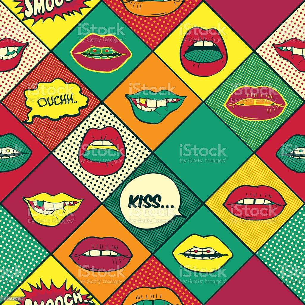 lips pop art seamless pattern stock vector art 506316262. Black Bedroom Furniture Sets. Home Design Ideas
