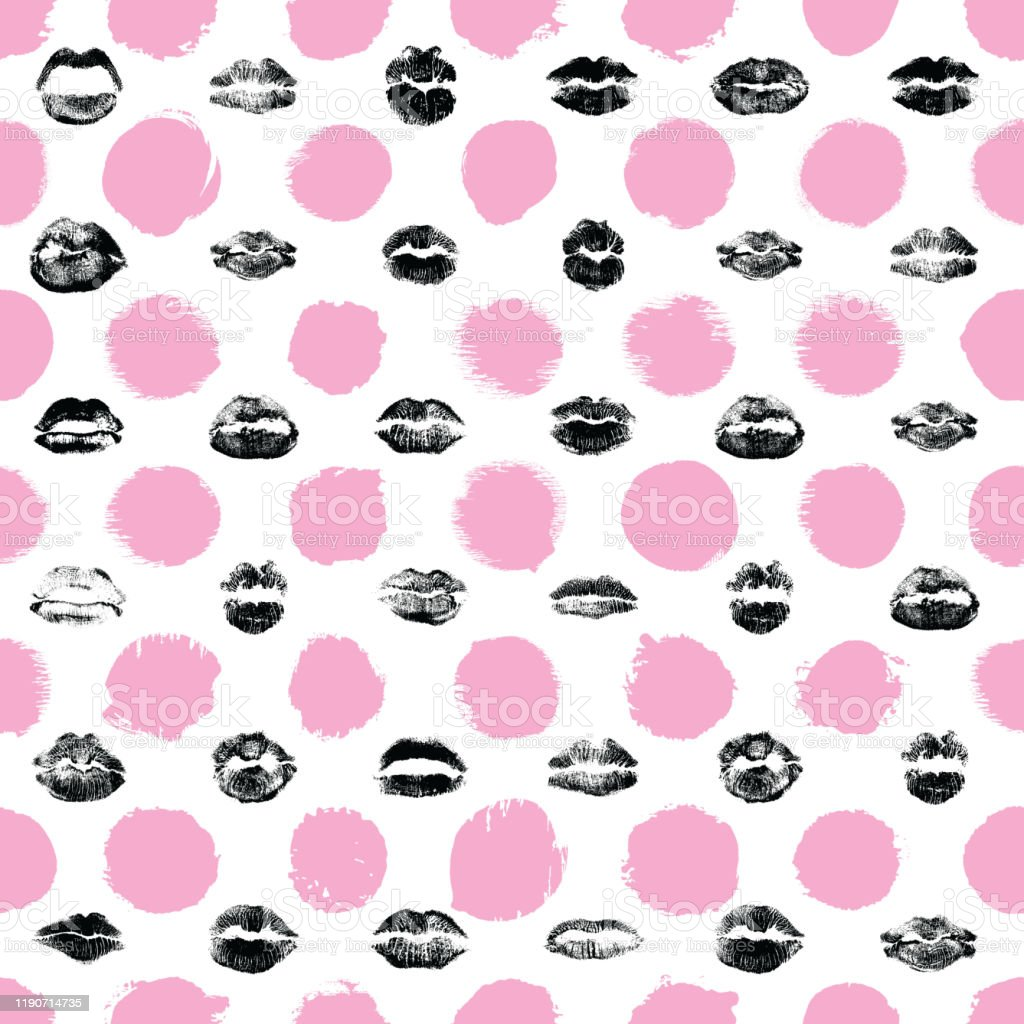 lips seamless pattern on polka dot background black and pink lips fashion print wrapping paper world kiss day valentines day love vector stock illustration download image now istock https www istockphoto com vector lips seamless pattern on polka dot background black and pink lips fashion print gm1190714735 337645932