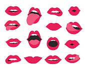 lips seamless pattern. vector illustration with lips and kiss.