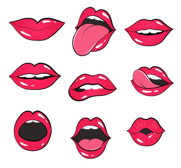lips set. vector illustration with lips and kiss - kiss stock illustrations