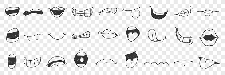 Lips, tongue, mouth doodle set. Collection of hand drawn human lips, open mouth, showing tongue with different emotions isolated on transparent background. Illustration of expressing sign with mouth