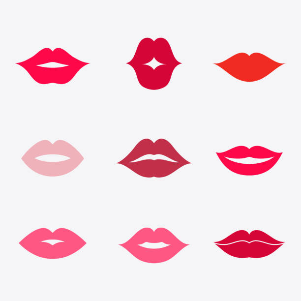 Lips vector icon set Lips vector icon set. Different women's lips isolated from background. Red lips close up girls. Shape sending a kiss, kissing lips. Collection of women's mouths. Lips symbol. pecking stock illustrations