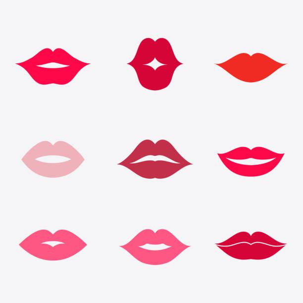唇ベクトル アイコンを設定 - 笑顔 女性点のイラスト素材/クリップアート素材/マンガ素材/アイコン素材
