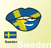 Vector illustration of lip painted Sweden flag isolated, foreign language national symbols