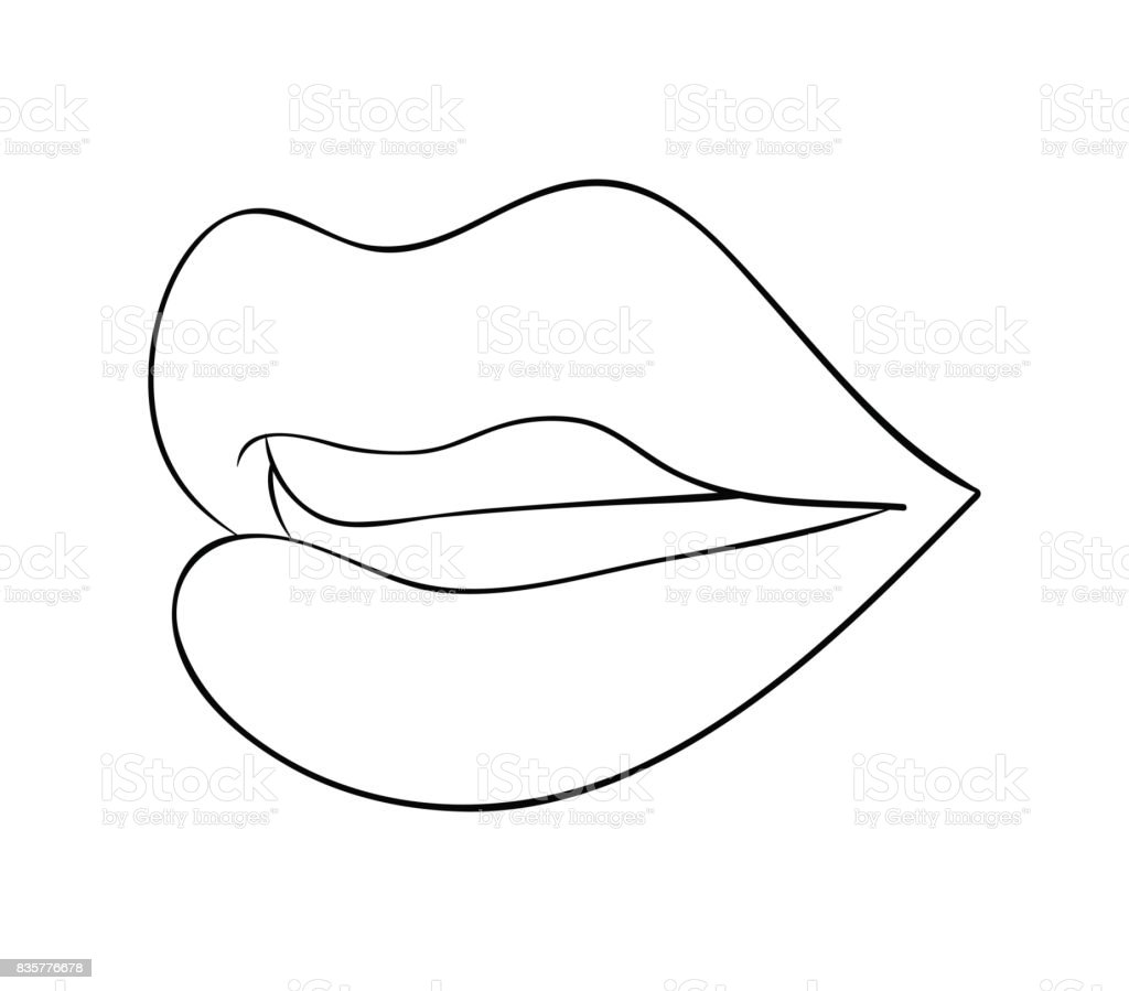 lips with teeth cartoon outline vector symbol icon design