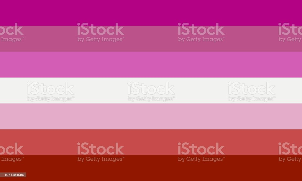 Lipstic lesbian pride flag without kiss sign - one of the sexual minority of LGBT community. vector art illustration