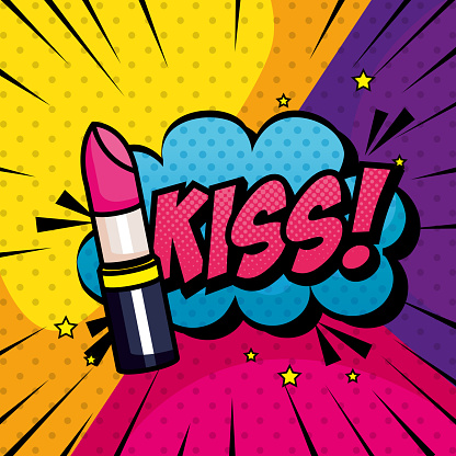 lipstick and cloud with kiss lettering pop art style