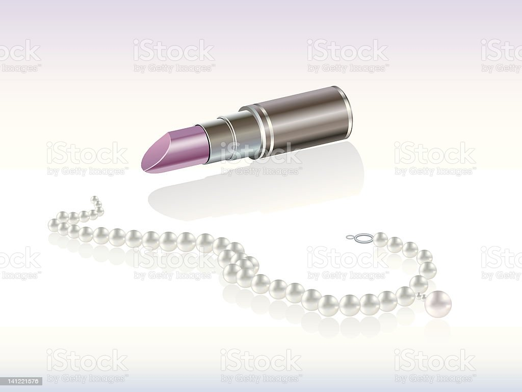 Lipstick and pearl necklace royalty-free lipstick and pearl necklace stock vector art & more images of arrangement