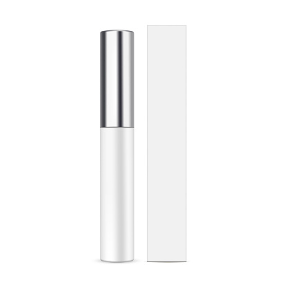 Lipstick balm with metallic cap and cardboard packaging box mockup