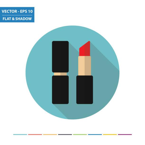 Lipstick flat icon Lipstick flat icon with long shadow. Vector Illustration. lipstick stock illustrations