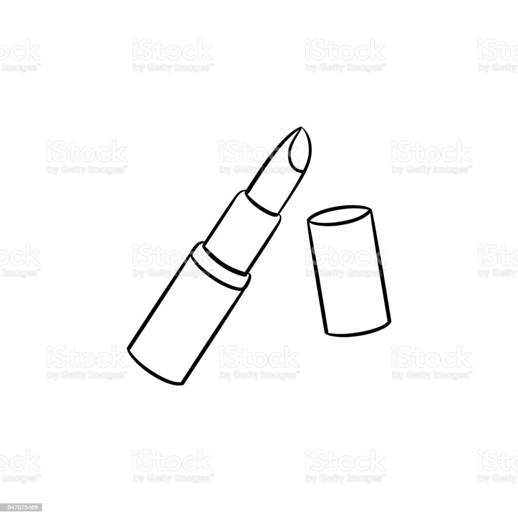 Dessiné Libres Main À De Lèvres Croquis Vecteurs Icône Rouge AL3Rq45j
