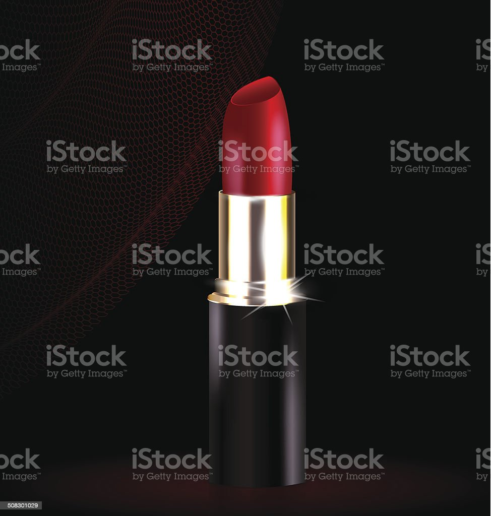 lipstick in black-red vector art illustration