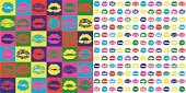 Vector illustration. Set of Lipstick prints made as seamless pattern in Pop Art style. Each of elements can easily ungroup and remove.