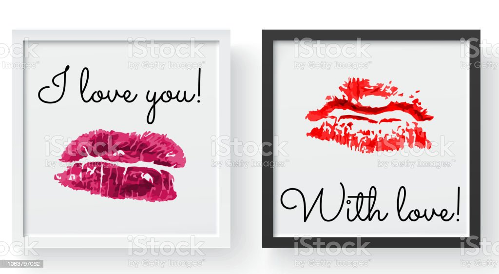 Lipstick kiss print. Female sexy red lips. Sexy lips makeup, kiss mouth, modern frame and place for text vector art illustration