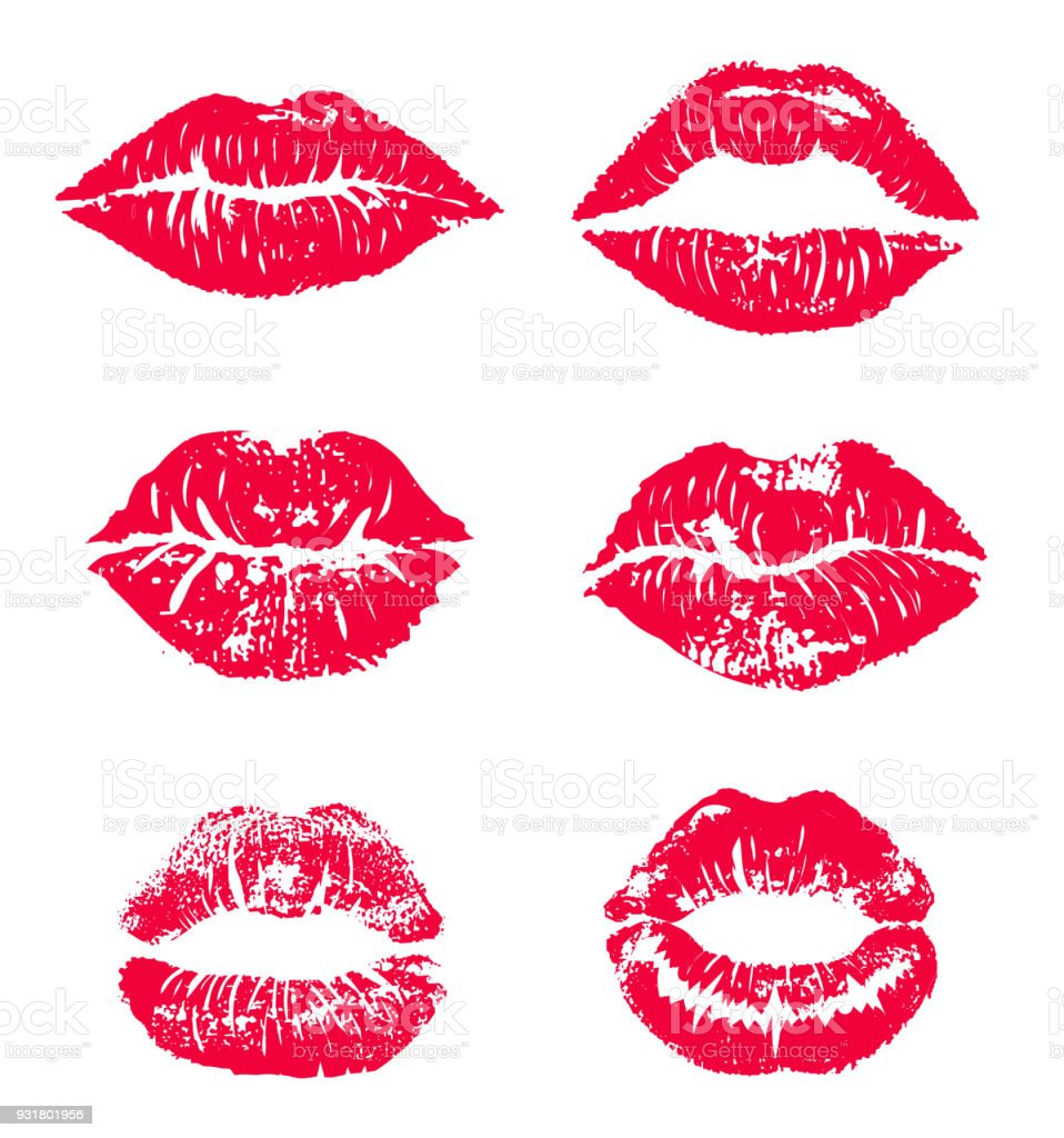 lipstick kiss print isolated vector set red vector lips set