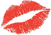 Vector lisptick kiss shape from a real lipstick mark. Very genuine. Including hi-res jpg and transparent png file.