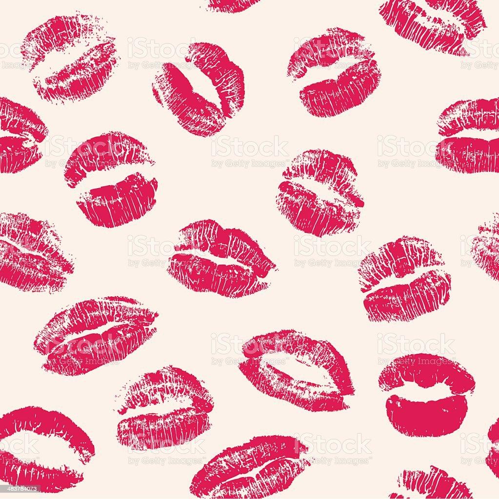 Lipstick kisses seamless pattern vector art illustration